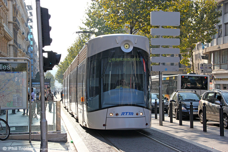 One of Marseille's new Bombardier Flexity Outlook type C cars is seen at Canebière Garibaldi on 26th September 2011