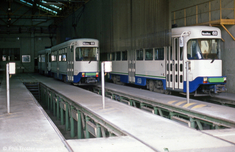 Two PCC cars in St. Pierre depot on 1st September 1989.