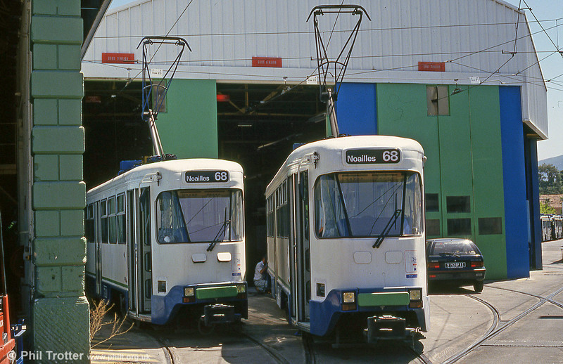 Two PCC cars outside the depot at St. Pierre on 27th July 1993.