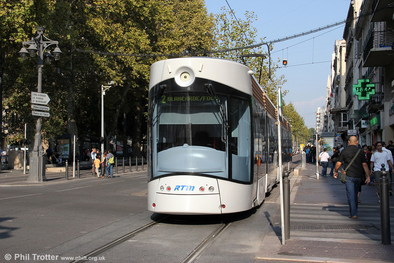 One of Marseille's new Bombardier Flexity Outlook type C cars is seen at Canebière Garibaldi on 26th September 2011. The design is (apparently) intended to reflect Marseille's maritime and Mediterranean heritage.