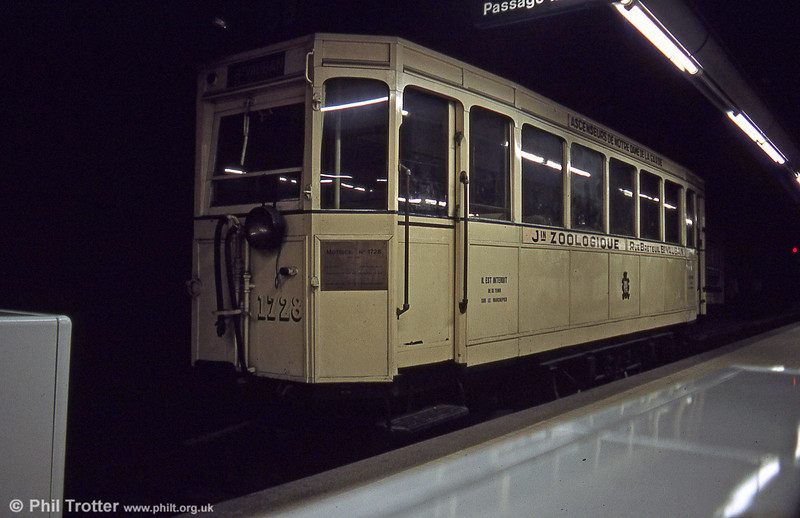 Marseille car 1728 preserved at the underground terminus of route 68 at Noailles. 1728 was one of 81 cars numbered 1701 to 1781, built from 1933 on the chassis of older cars dating from 1898-1900. It was withdrawn from service in 1948 but restored for the tramway centenary in 1976. 1st September 1989.