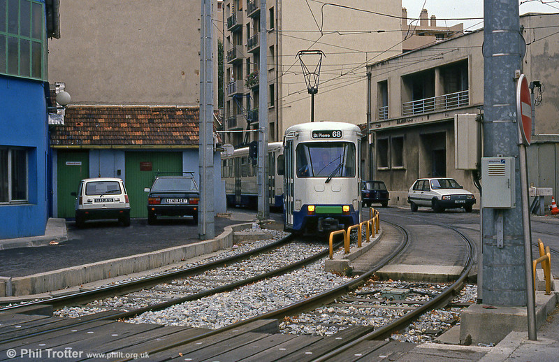 Marseille PCC cars near St. Pierre depot on 1st September 1989.