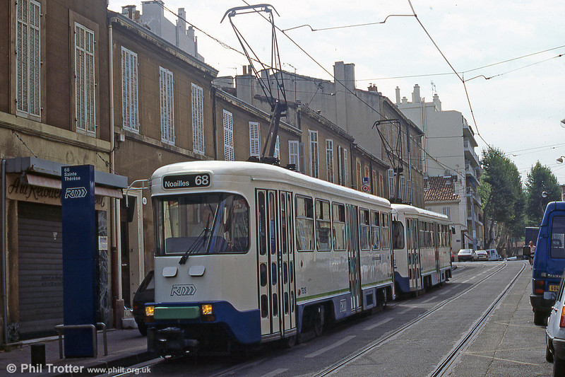 Although the Marseille cars dated from the late 1960s, they were much rebuilt when the system was renovated in 1982-3 and adapted to run coupled in pairs. St. Pierre, August 1995.