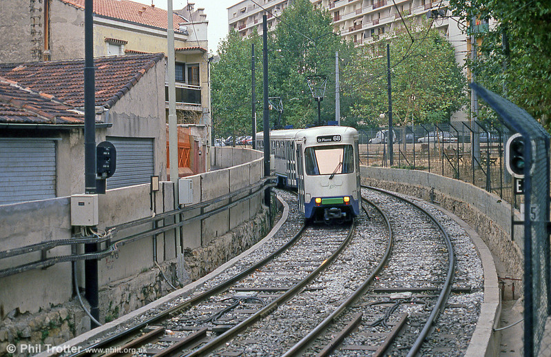 Marseille PCC cars on the reserved section at Sainte-Thérèse on 1st September 1989.