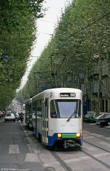 Marseille PCC cars approaching Place de la Gare de la Blancarde on 1st September 1989.