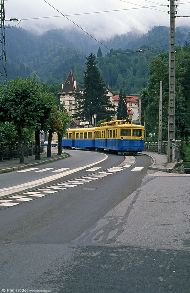 The TMB has a section of street running in Avenue de Geneve, St. Gervais as seen on 3rd September 1989.