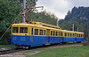 The Tramway du Mont Blanc uses nine of these railcars with one cab which operate with driving trailers. St. Gervais, 3rd September 1989.