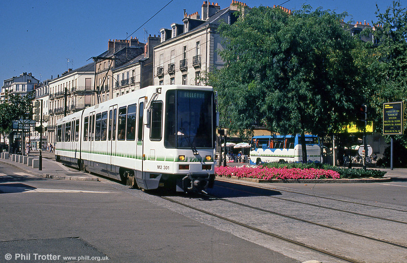 To open the new tramway in 1985, a fleet of 20 Alstom Alstom TFS-1 cars were ordered. As the nextword expanded, further examples of this type have been introduced. Car 301 is seen at Nantes Station on 29th August 1989.