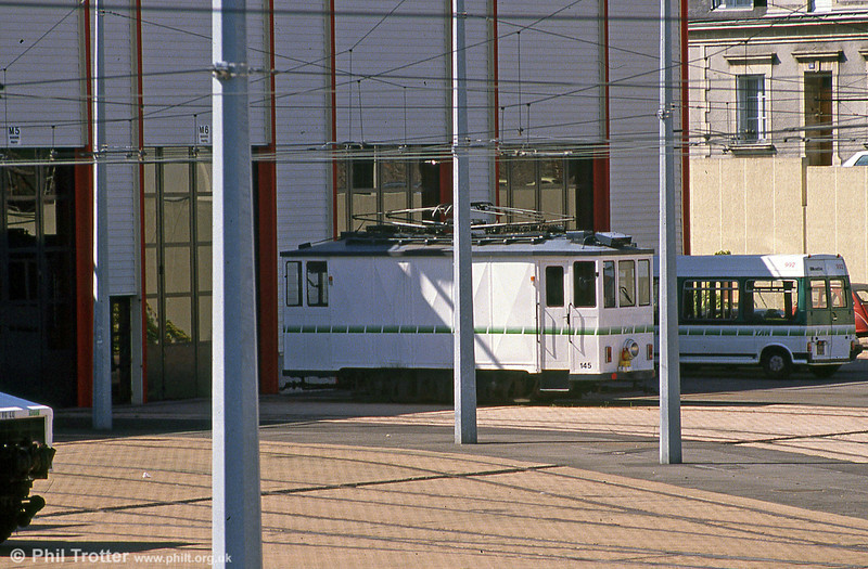 Nantes Schörling railgrinding car 145 of 1930 (numbered in sequence with the original passenger fleet) which was acquired from the Rheinbahn in Dusseldorf (no. 5164). Seen at  Depot Hôpital Bellier on 29th August 1989.