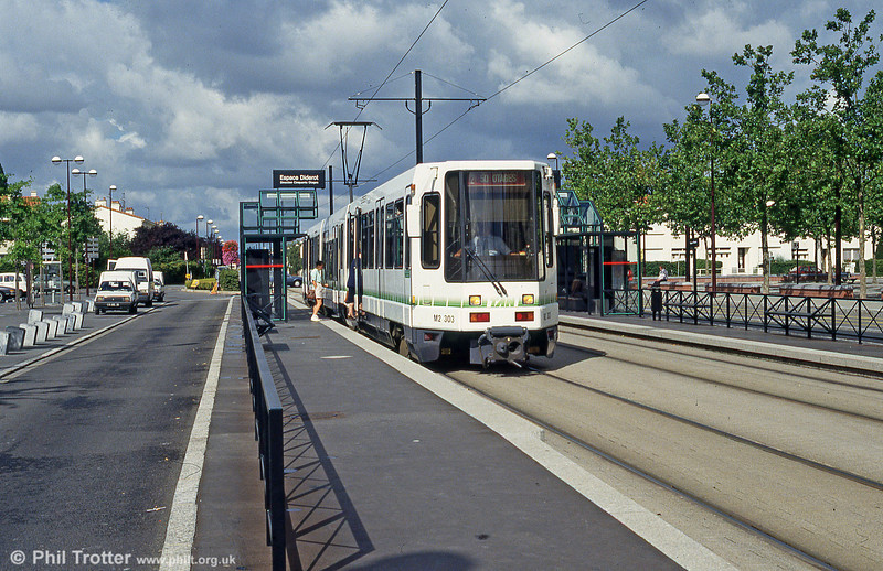 Nantes 303 at Espace Diderot on 26th July 1993. (First published in Light Rail & Modern Tramway, 3/94).