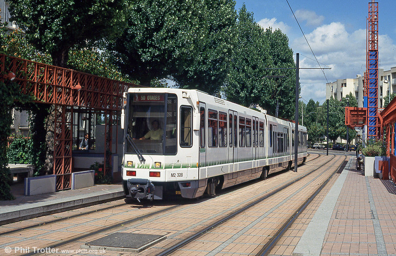 Car 328 at Pont Rousseau on 26th July 1993. Note that the car has been fitted with a low floor centre section - a feature of all later deliveries and fitted to earlier cars retrospectively.