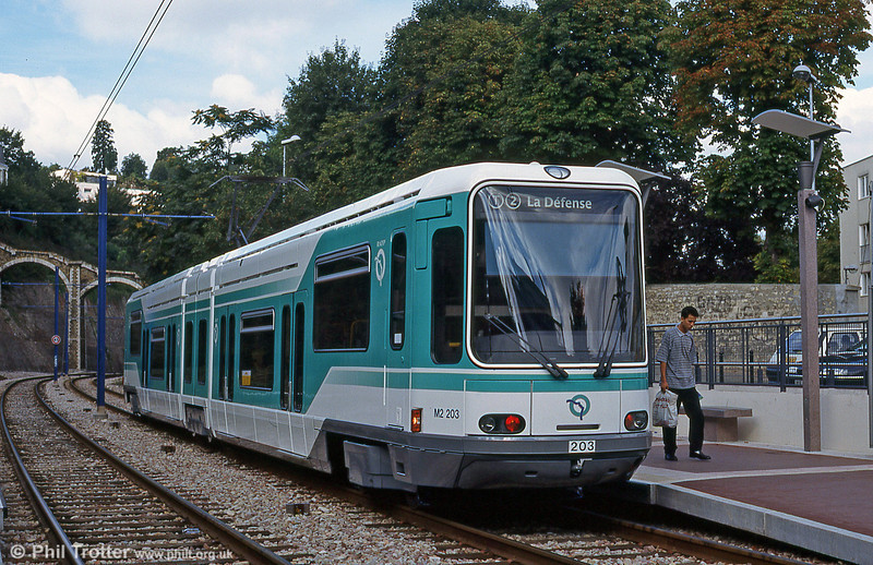 Paris Line T2 from La Défense to Issy in the west of the city, was opened in 1996. Alsthom car 203 at Meudon-sur-Seine on 7th September 1997.