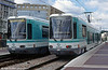 Paris line T2 cars 204 and 213 at Les Moulineaux on 7th September 1997.