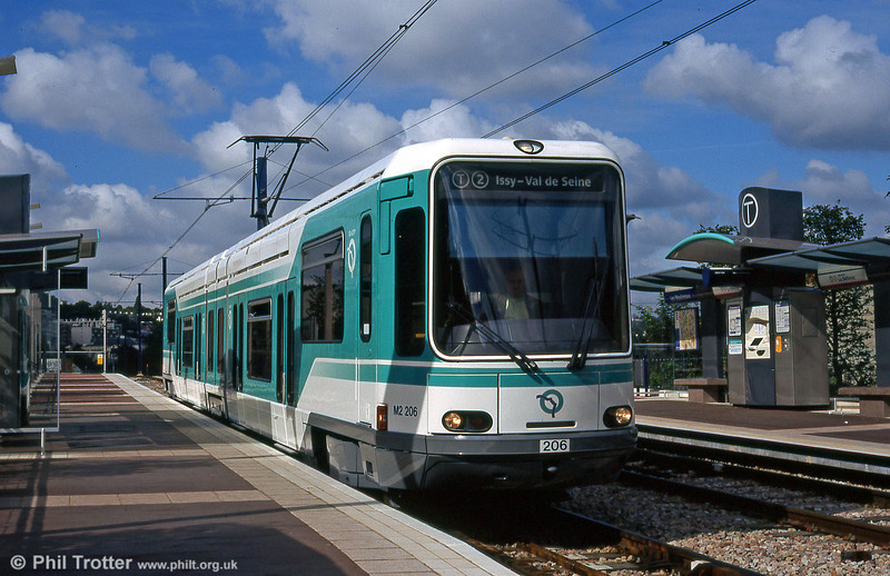 Paris line T2 car 206 at Les Moulineaux on 7th September 1997.