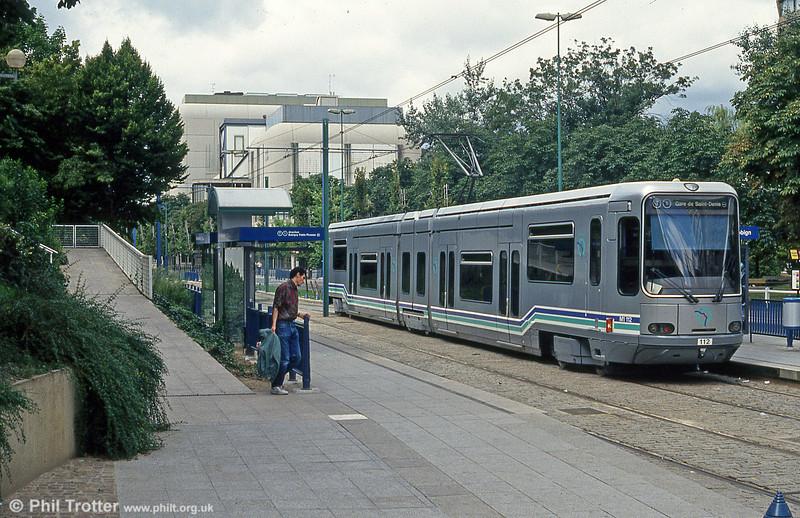 Paris line T1 car 112 at Hotel de Ville, Bobigny on 5th August 1993.