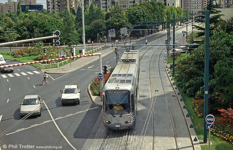 Paris line T1 car 117 at Hotel de Ville, Bobigny on 5th August 1993.