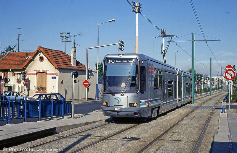 Paris line T1 car 108 at Avenue Jean Jaurèson 5th August 1993.