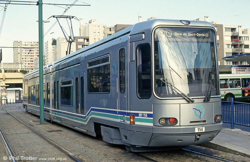Paris line T1 car 114 at Bobigny, 6th August 1993.