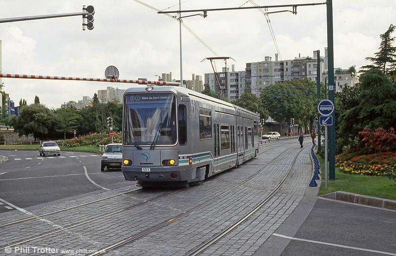 Paris line T1 car 101 at Hotel de Ville, Bobigny on 5th August 1993.