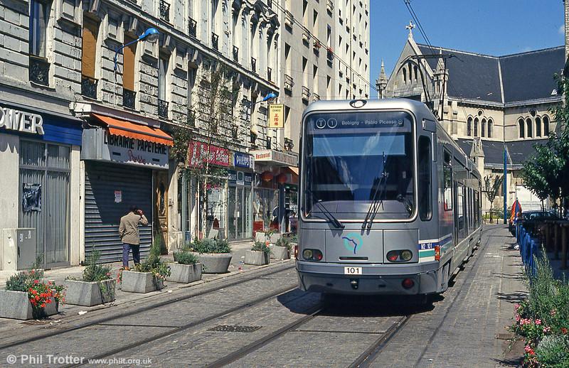 Paris line T1 car 101 in Rue Auguste Delaune, Saint-Denis on 5th August 1993.