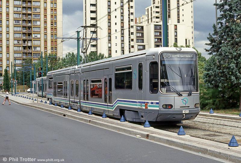 Paris line T1 car 101 at Bobigny, 6th August 1993.