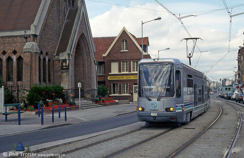 Paris line T1 car 106 at La Corneuve on 5th August 1993.