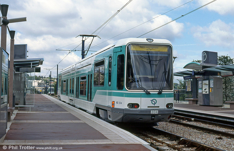 Paris line T2 car 204 on a driver training run at Les Moulineaux on 7th September 1997. These cars have since been transferred to extended line T1 and replaced by newer vehicles.