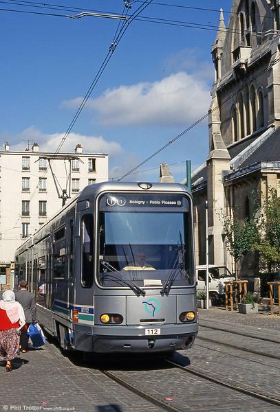 Paris line T1 car 112 in Rue Auguste Delaune, Saint-Denis on 5th August 1993.