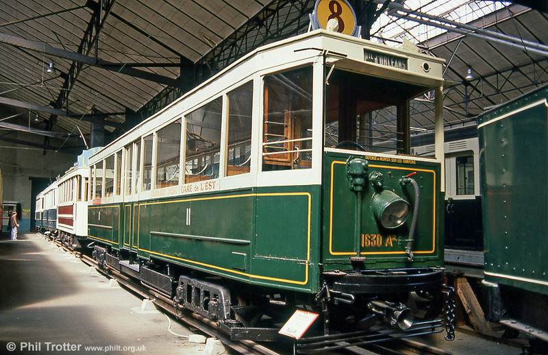 Paris car 1630, one of 60 cars (1576 to 1635) which ran from 1929 until  1937, after which it saw further service in Marseille until 1960. Seen at the Paris Transport Museum in July 1984.