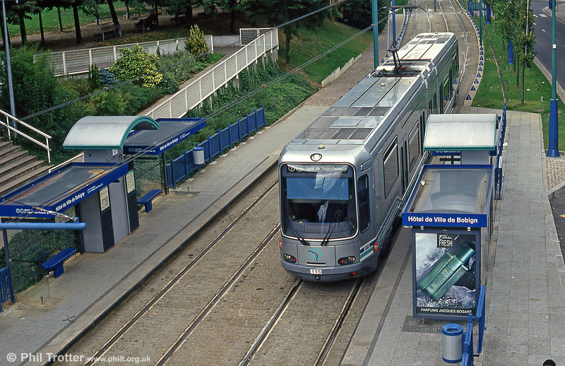 Paris line T1 car 115 at Hotel de Ville, Bobigny on 5th August 1993.