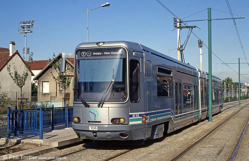 Paris line T1 car 106 at Avenue Jean Jaurèson 5th August 1993.