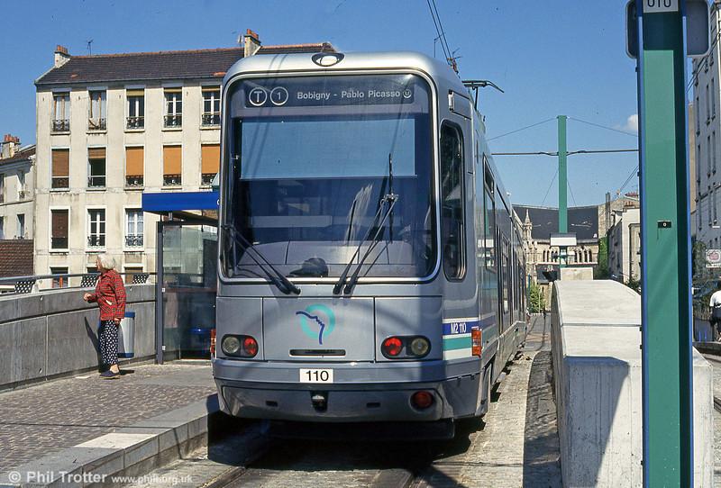 Paris line T1 car 110 at St. Denis terminus on 6th August 1993.