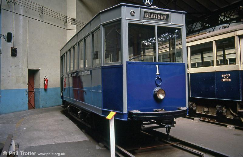 Included here, as it's not far from Paris, Versailles car 1 which ran from 1896 to 1957. Seen at the Paris Transport Museum in July 1984.