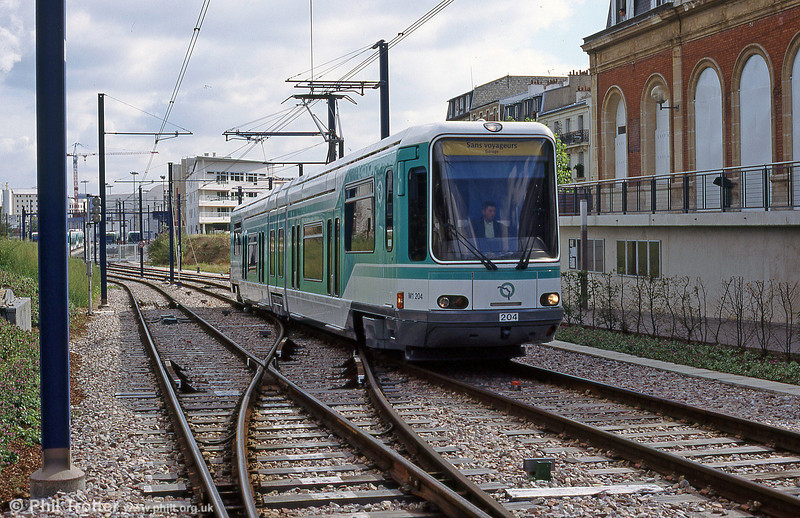 Paris line T2 car 204 at Les Moulineaux on 7th September 1997.