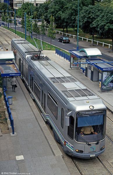 Paris line T1 car 106 at Hotel de Ville, Bobigny on 5th August 1993.