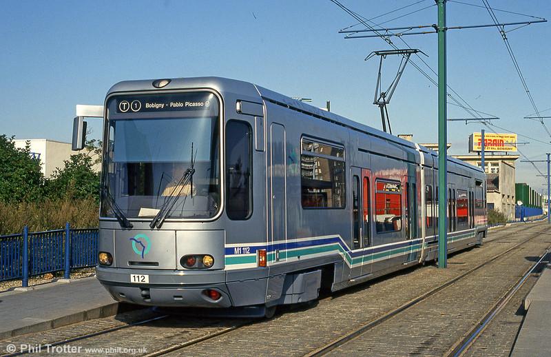 Paris line T1 car 112 at Avenue Jean Jaurèson 5th August 1993.