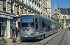 Paris line T1 car 110 passing through the pedestrianised streets of St. Denis on 6th August 1993.