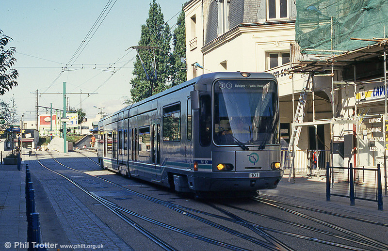 Paris line T1 car 101 at St. Denis terminus on 6th August 1993.