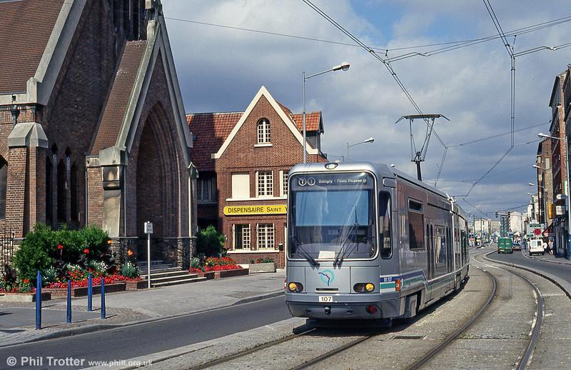 Paris line T1 car 107 at La Corneuve on 5th August 1993.