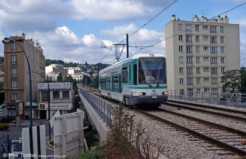 Paris line T2 car 202 at Les Moulineaux on 7th September 1997.