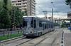 Paris line T1 car 107 at Hotel de Ville, Bobigny on 5th August 1993.