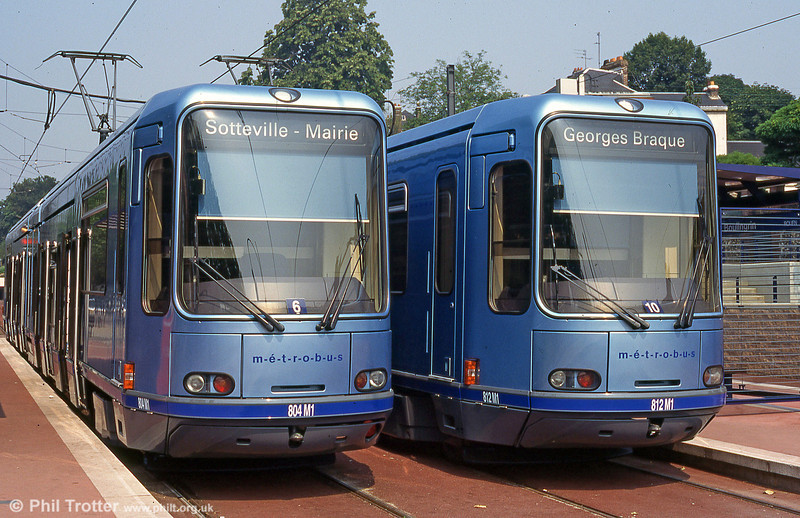 Rouen's tramway opened in 1994, confusingly branded 'Metrobus'. A pair of the Rouen cars, nos. 804 and 812 at Boulingrin terminus in August 1995.