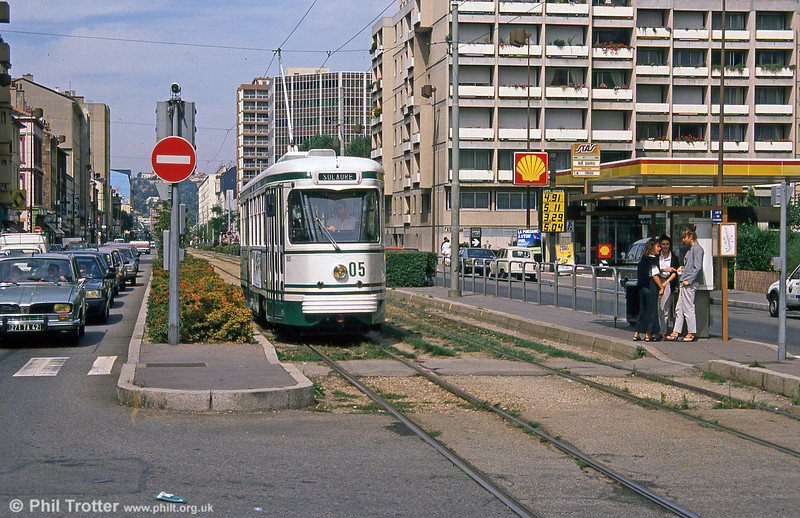 St. Etienne car 505 at Rue Barra on 31st August 1989.