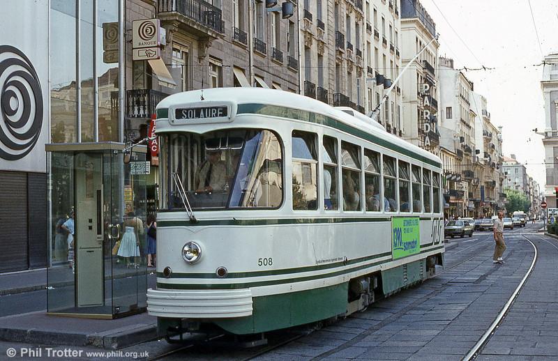 St. Etienne car 508 at Hotel de Ville in July1984.
