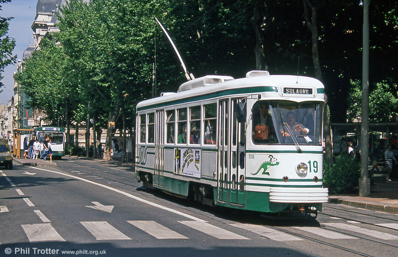 PCC car 519 near the centre of St. Etienne on 31st August 1989. The last of these were withdrawn with the arrival of further Alsthom/Vevey artics.