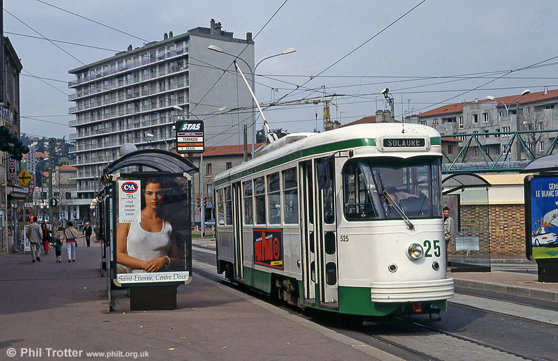 St. Etienne PCC car 525 at Terrasse on 23rd April 1992.