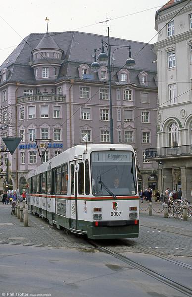 Man/Duwag car 8007 at Konigstplatz on 4th April 1991.