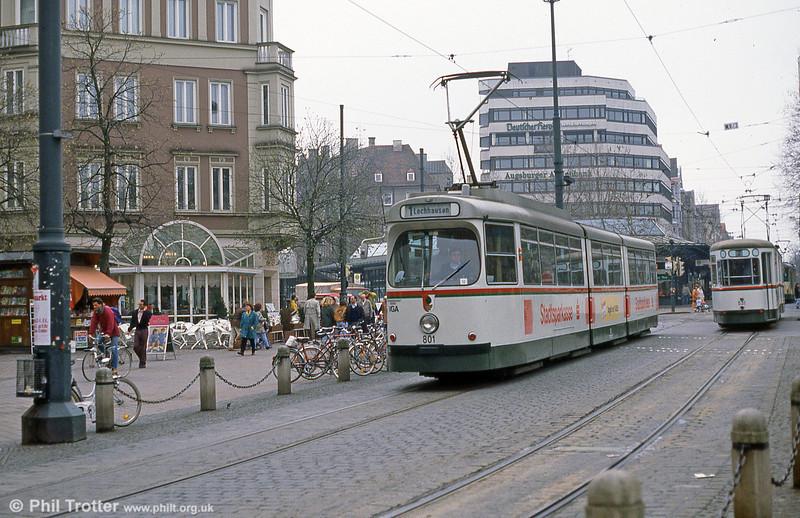Man/Duwag car 801 at Konigstplatz on 4th April 1991.