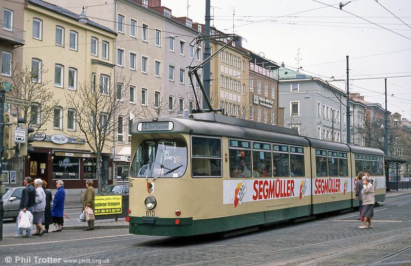 Man/Duwag car 810 at Konigstplatz on 4th April 1991.
