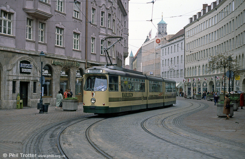 Man/Duwag car 811 at Konigstplatz on 4th April 1991.